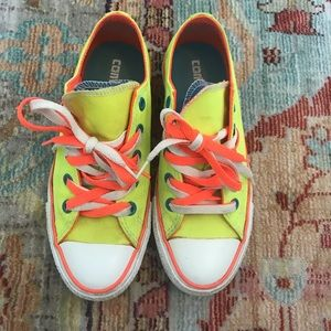 Yellow multi-colored Converse All-Stars
